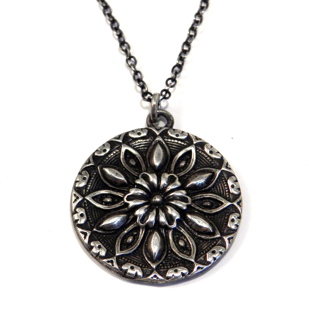 SUNFLOWER / RADIANCE Antique Button Necklace - SILVER