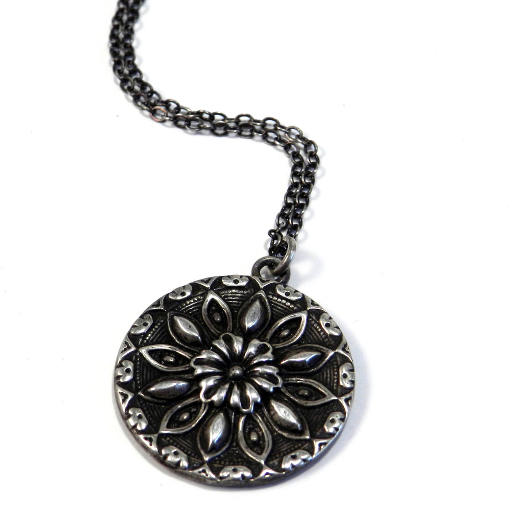 RADIANCE Antique Button Necklace - SILVER