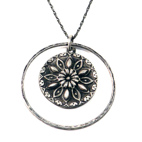 SUN MEDALLION Antique Button Necklace - Sterling Silver Halo