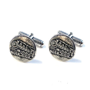 STEAM TRAIN Antique Button Cufflinks - SILVER