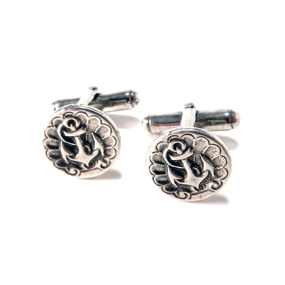 SHIPS ANCHOR Antique Button Cufflinks - SILVER