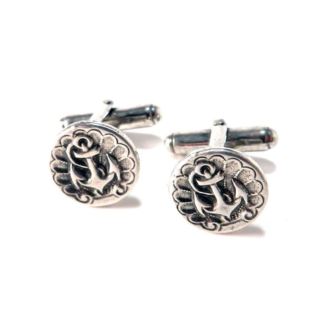 ANCHOR Antique Button Cufflinks - Sterling Silver