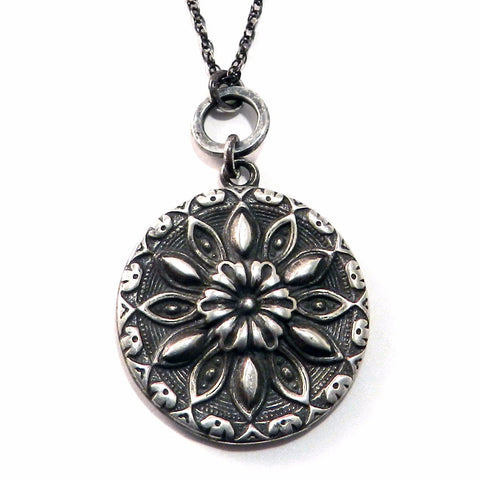 SUN MEDALLION Antique Button Necklace - Sterling Silver