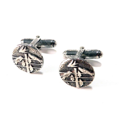FLOCK TOGETHER Antique Button Cufflinks - Sterling Silver
