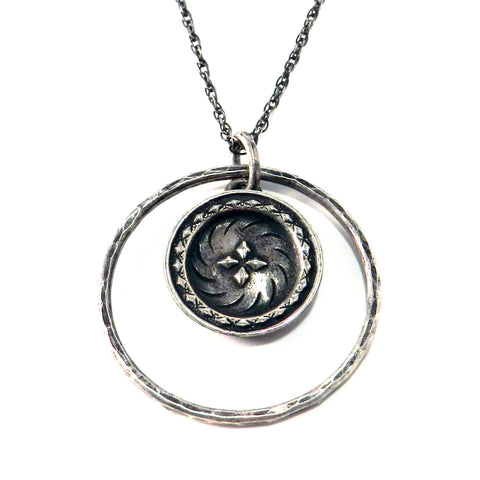 FOUR DIRECTIONS Antique Button Necklace - Sterling Silver Halo