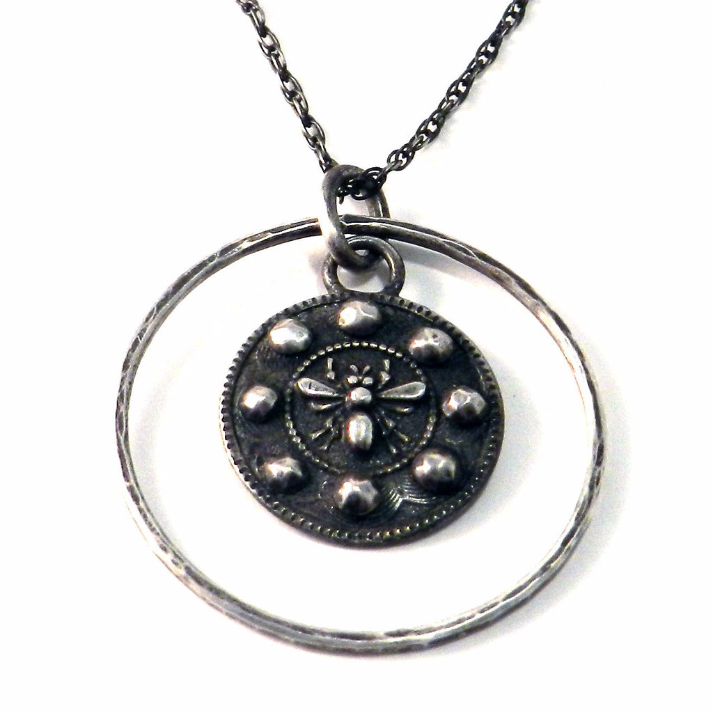 QUEEN BEE Antique Button Necklace - Sterling Silver Halo