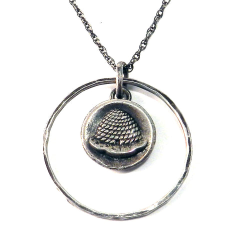 BEEHIVE Antique Button Necklace - Sterling Silver Halo