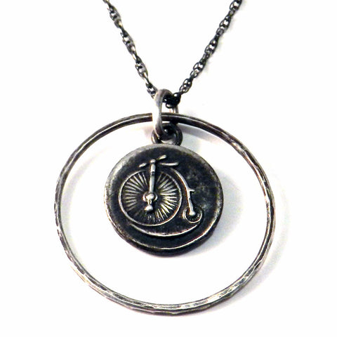 VINTAGE BICYCLE Antique Button Necklace - Sterling Silver Halo