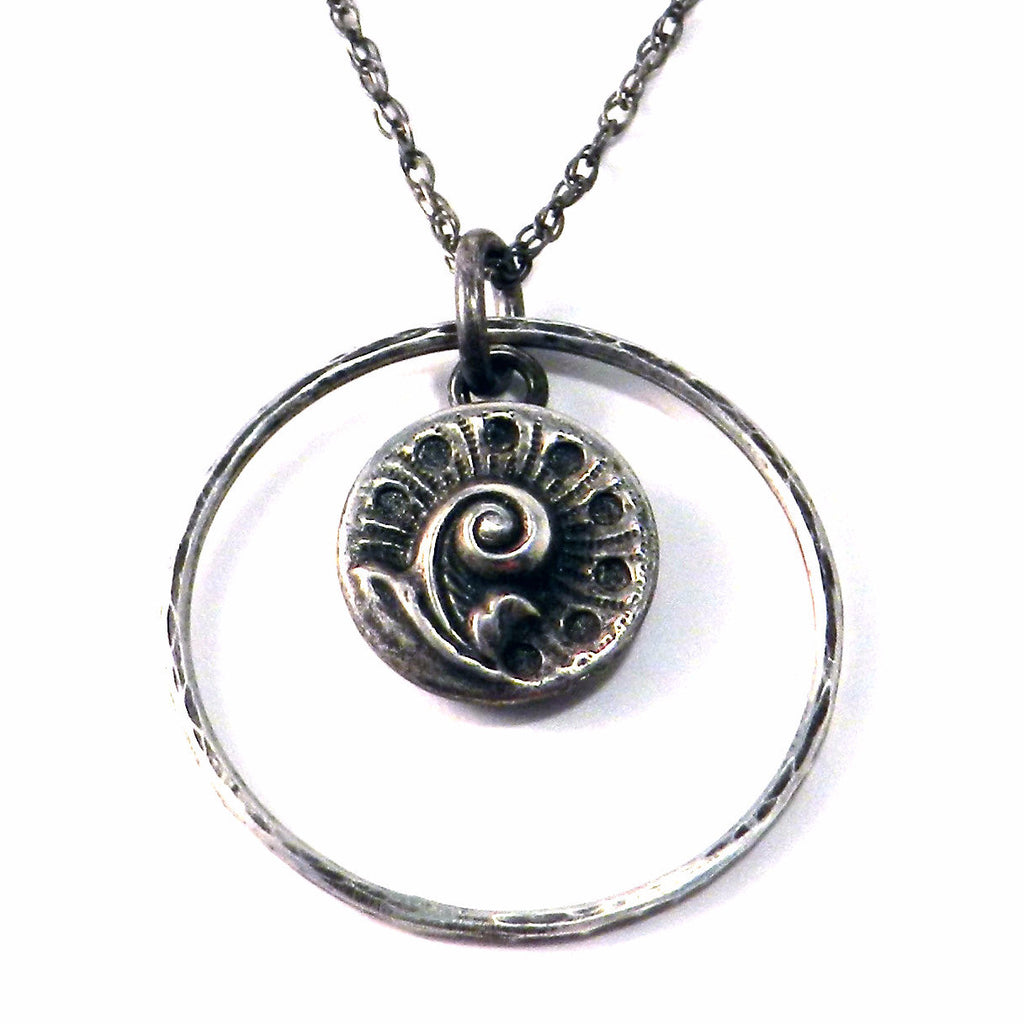 SPRING FERN Antique Button Necklace - Sterling Silver Halo