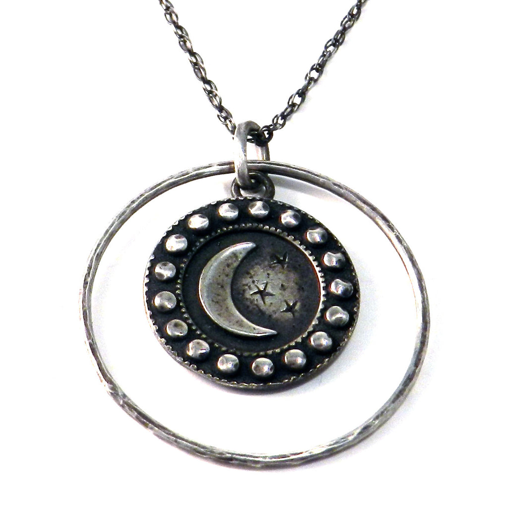 LARGE CRESCENT Moon Antique Button Necklace - Sterling Silver Halo