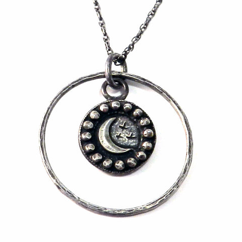 CRESCENT MOON Antique Button Necklace - Sterling Silver Halo
