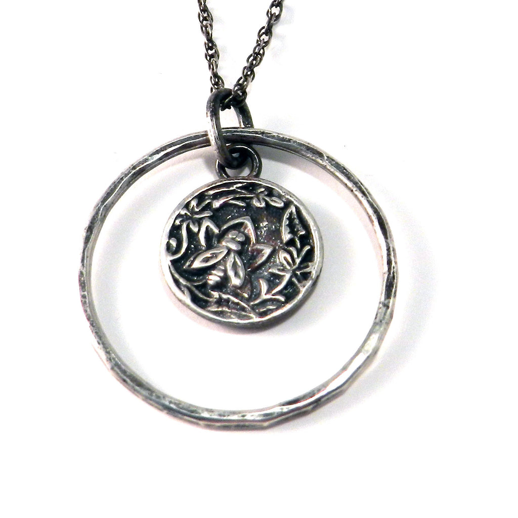 NECTAR Antique Button Necklace - Sterling Silver Halo