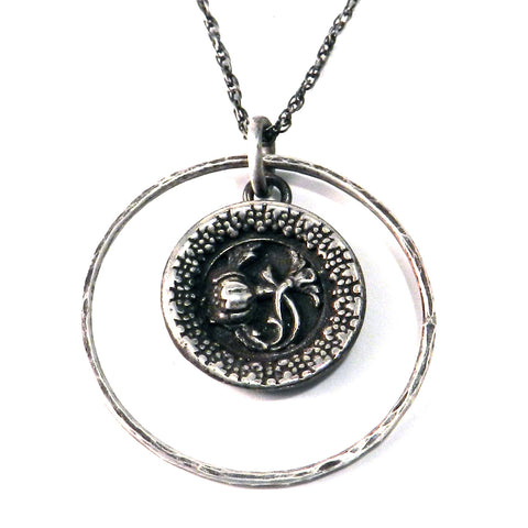 FRENCH ROSE Antique Button Necklace - Sterling Silver Halo
