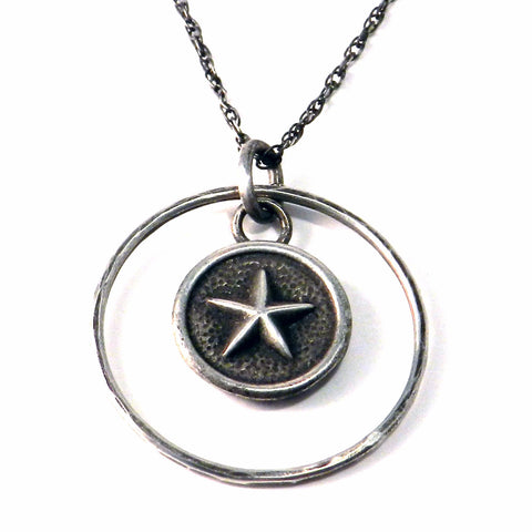 STAR Antique Button Necklace - Sterling Silver Halo