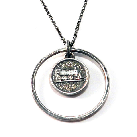 STEAM TRAIN Antique Button Necklace - Sterling Silver Halo