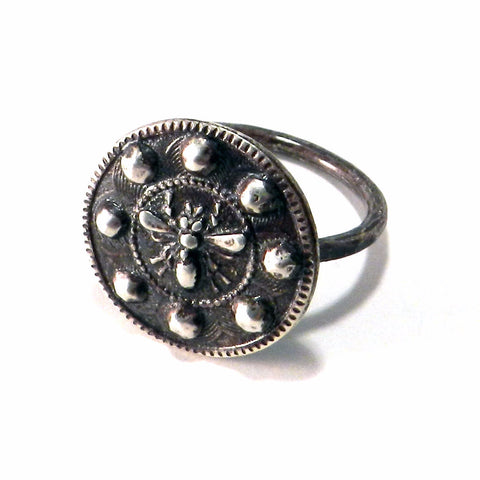 Honey Bee Antique Button Ring - Sterling Silver
