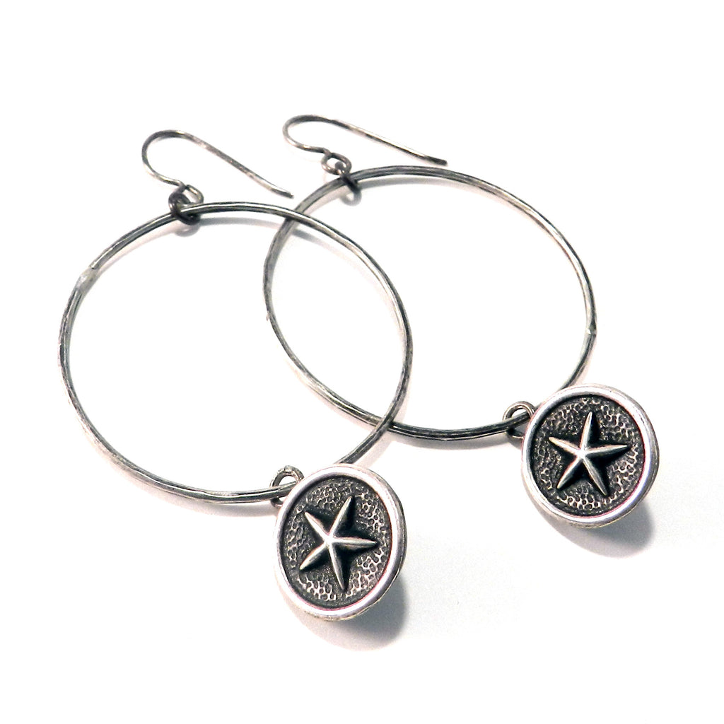 NORTH STAR Antique Button Earrings - Sterling Silver Profile