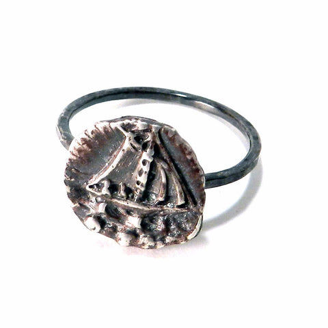 SET SAIL Antique Button Ring - Sterling Silver