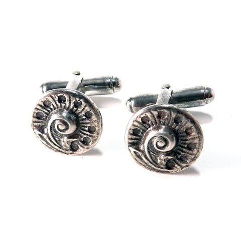Spring Fern Antique Button Cufflinks - Sterling Silver