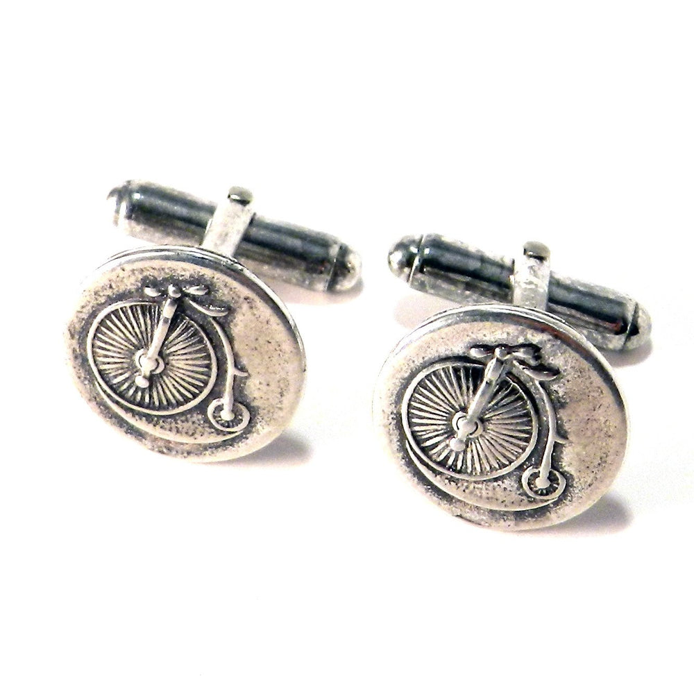 VINTAGE BICYCLE Antique Button Cufflinks - SILVER