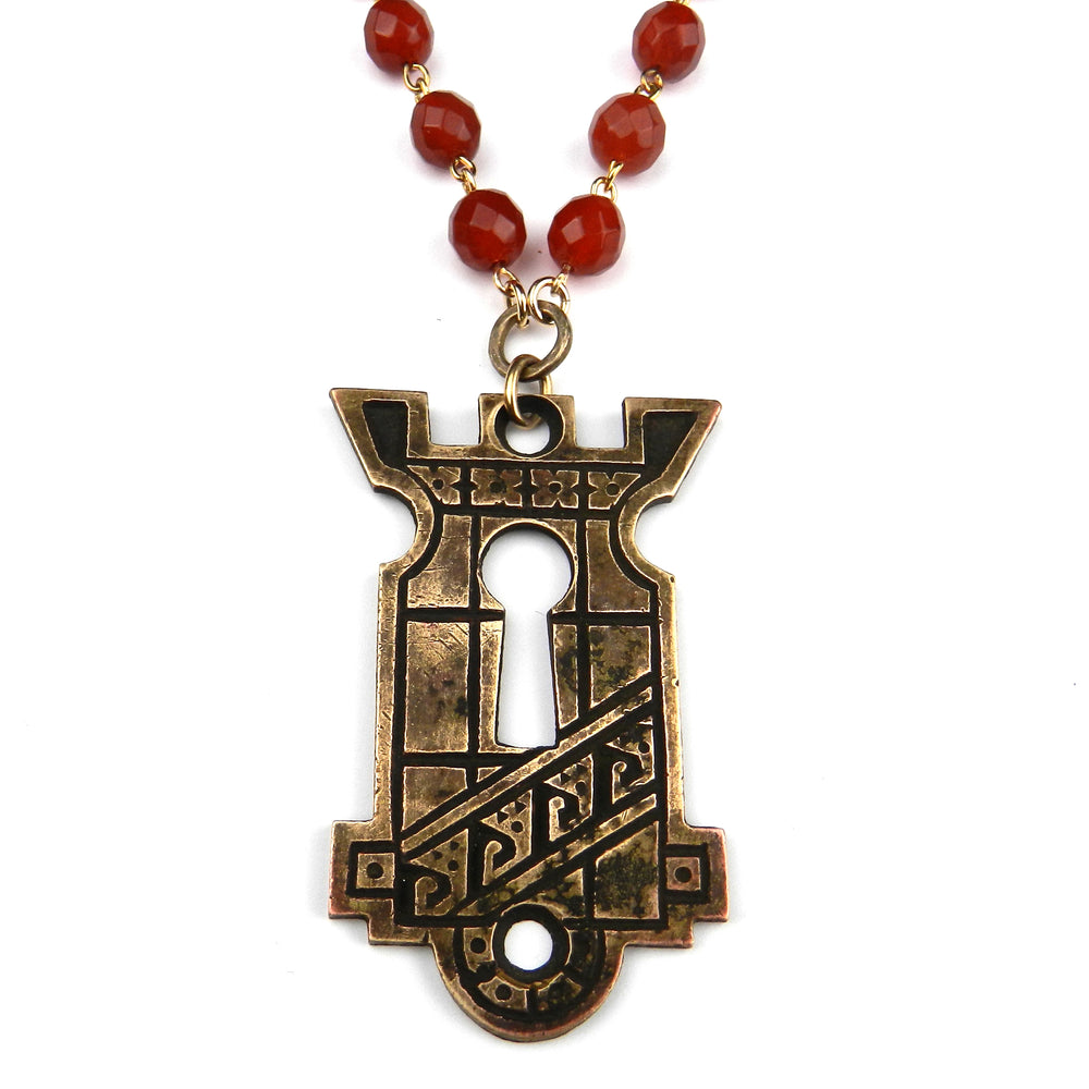 Athens Antique Keyhole Necklace - Carnelian Gemstone