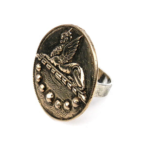 SPHINX Vintage Button Mixed Metal Ring