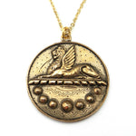 HERA's RIDDLE - Victorian Greek Sphinx Button Necklace