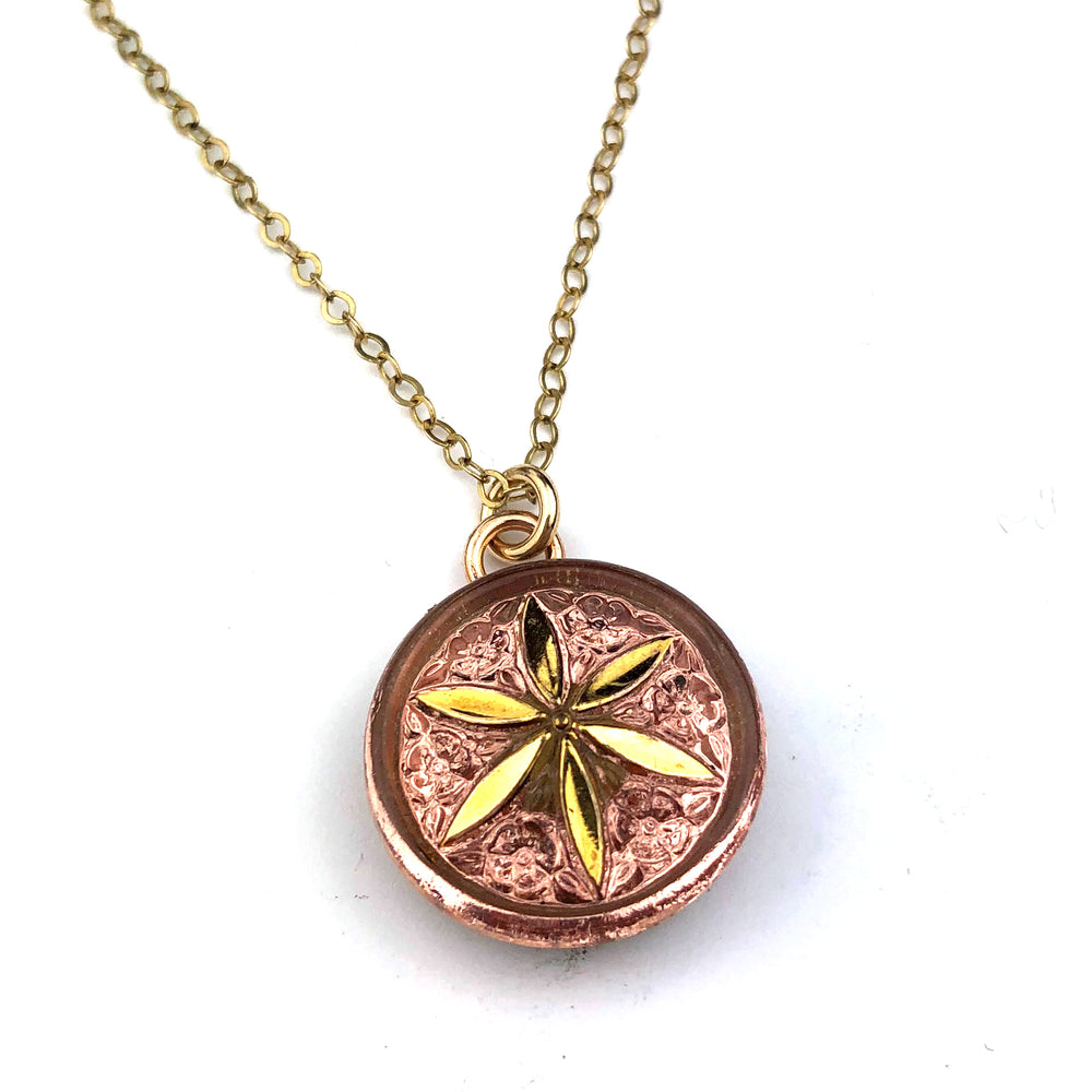 CHAMPAGNE SUNSTAR Vintage Button Necklace - Gold