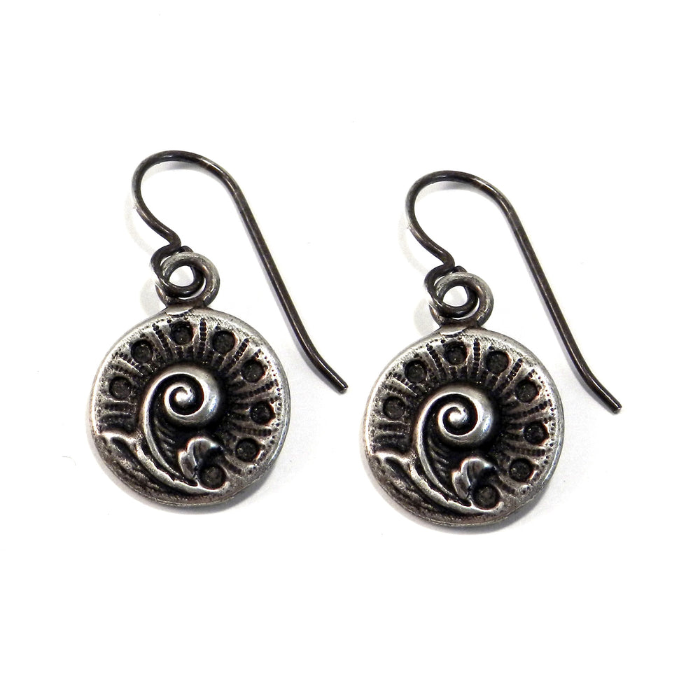 FERN / NAUTILUS Vintage Button Earrings - Silver