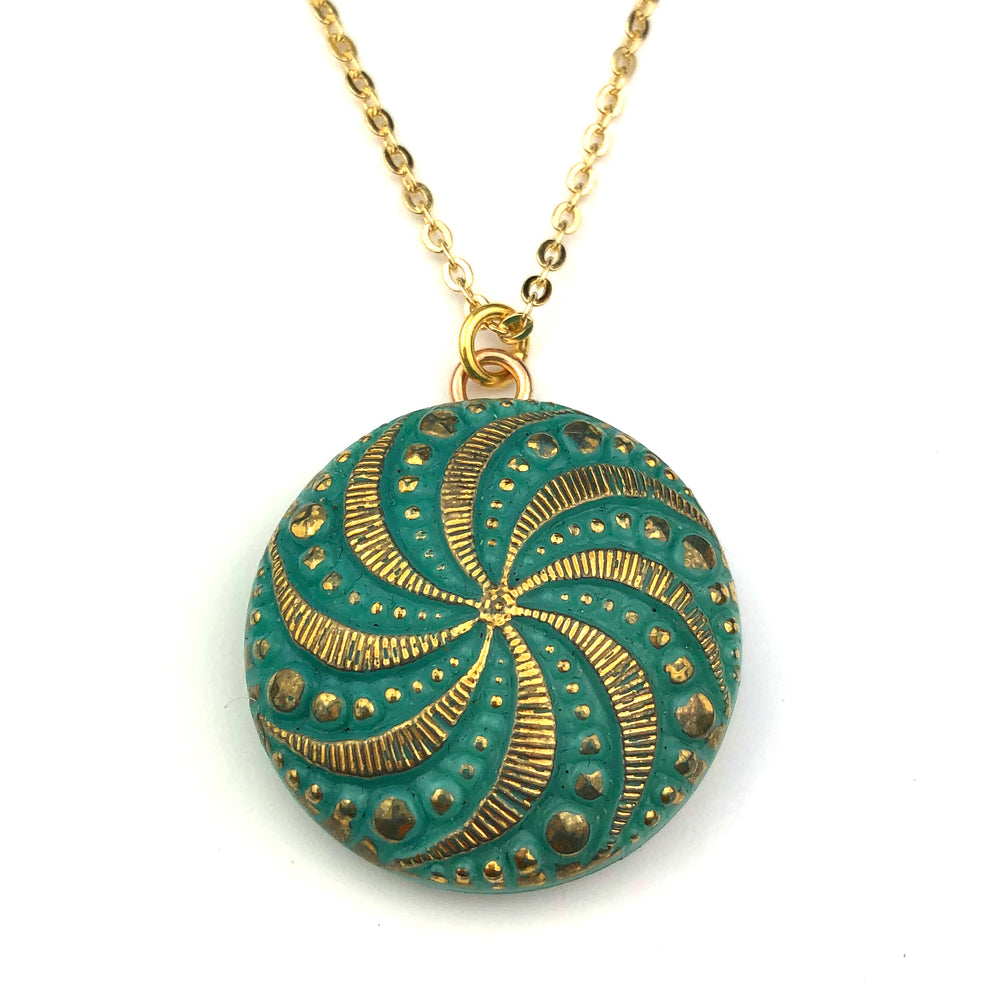 MEADOW SPIRAL Vintage Button Necklace - GOLD