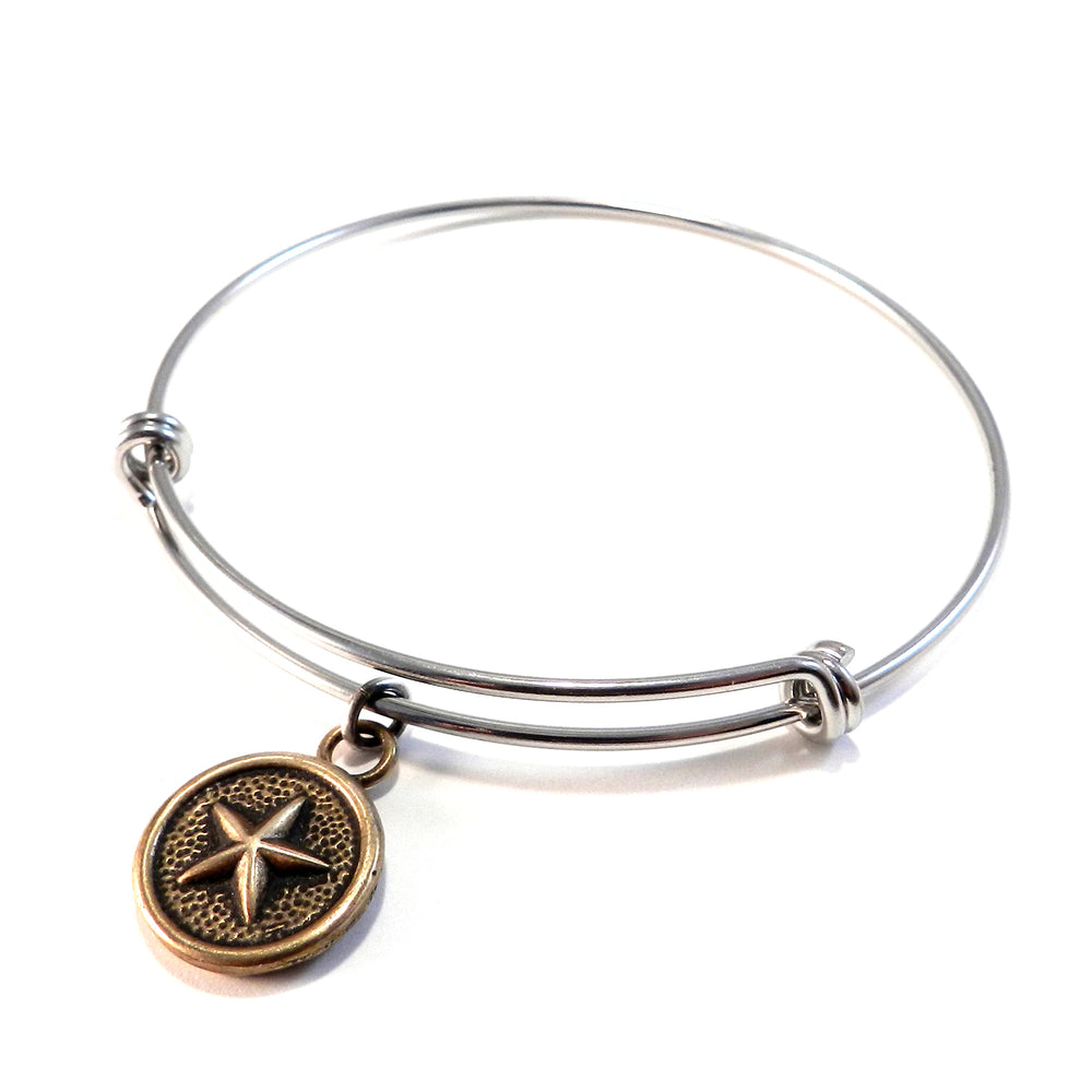 STAR Antique Button Bangle Charm Bracelet - MIXED METAL