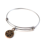 SUNLIGHT Antique Button Bangle Charm Bracelet - MIXED METAL