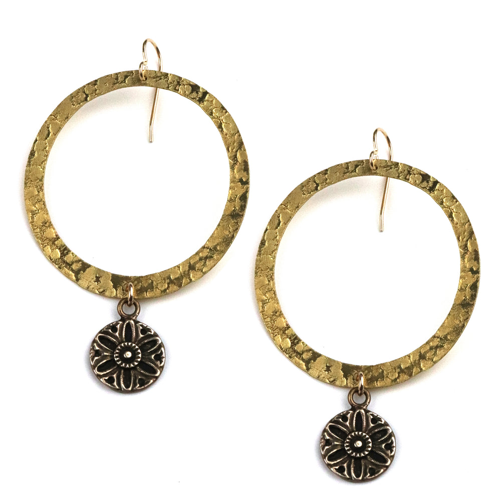 SUNFLOWER / SUNLIGHT Vintage Button Halo Earring - Gold
