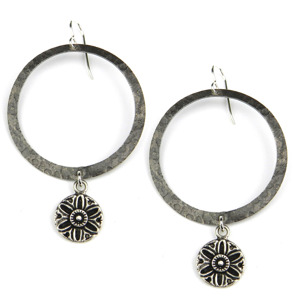 SUNFLOWER / SUNLIGHT Vintage Button Halo Earring - Silver