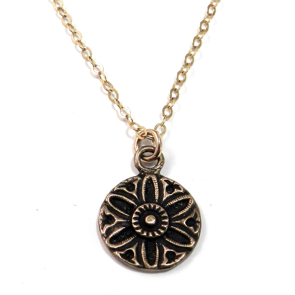 SUNFLOWER / SUNLIGHT Vintage Button Necklace - GOLD