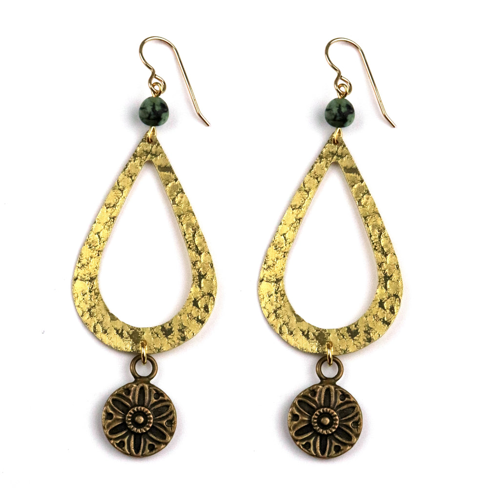 SUNFLOWER / SUNLIGHT Teardrop Earrings - GOLD