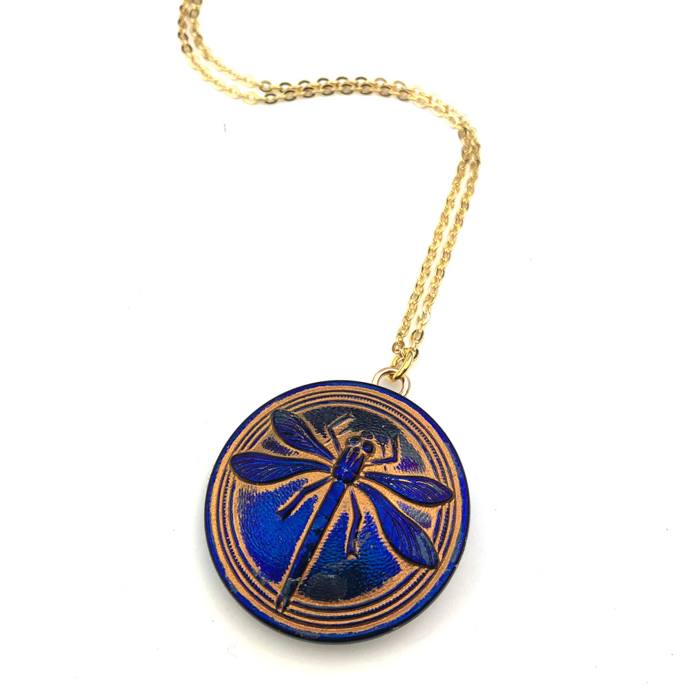 IRIS SUNRISE DRAGONFLY Vintage Button Necklace - GOLD