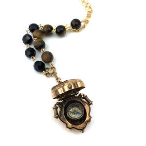 Tigerseye & Onyx Intaglio Compass Locket Watch Fob Necklace
