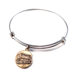 STEAM TRAIN Antique Button Bangle Charm Bracelet - MIXED METAL