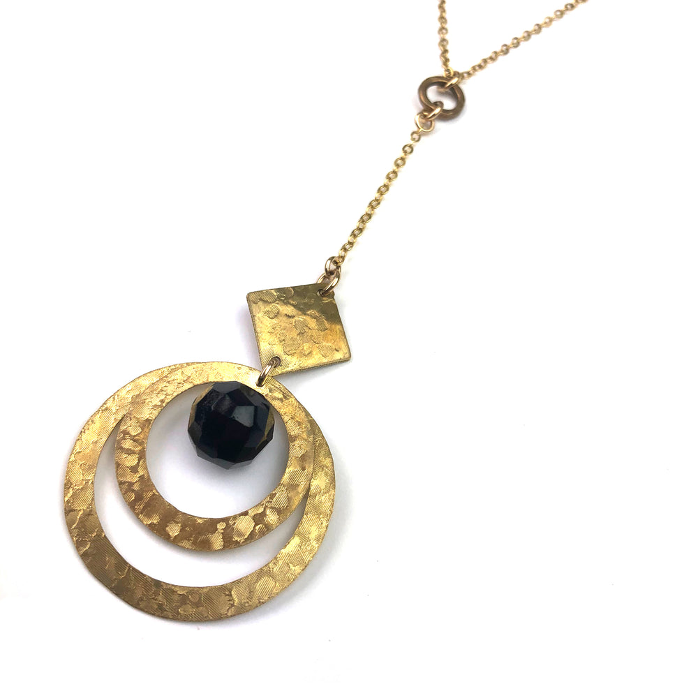 VICTORIA Lariat Button Necklace - Gold