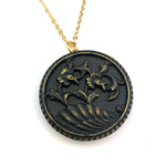 Victorian Daffodils Button Necklace - GOLD