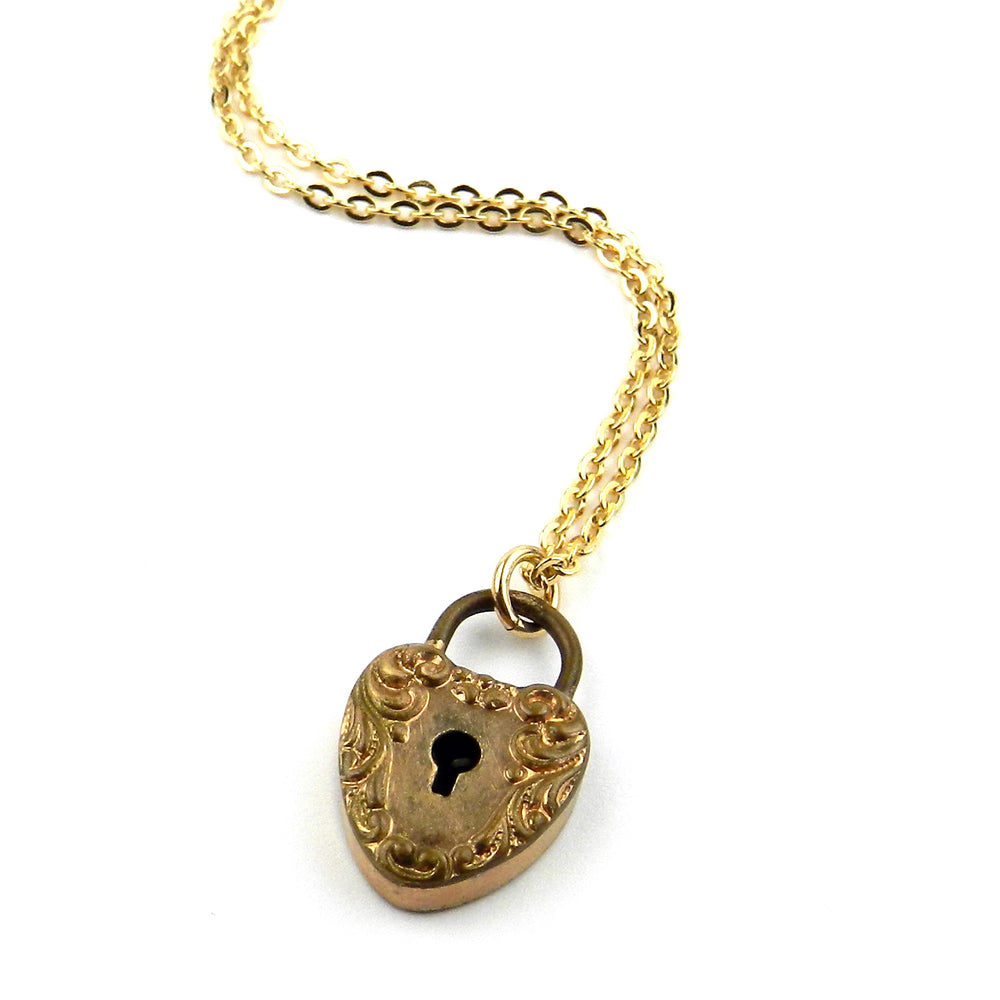 Victorian Heart Lock Wedding Necklace in Gold