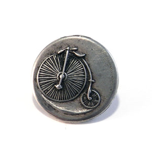 VINTAGE BICYCLE Lg Antique Button Lapel Pin/Hat Pin - SILVER or BRONZE