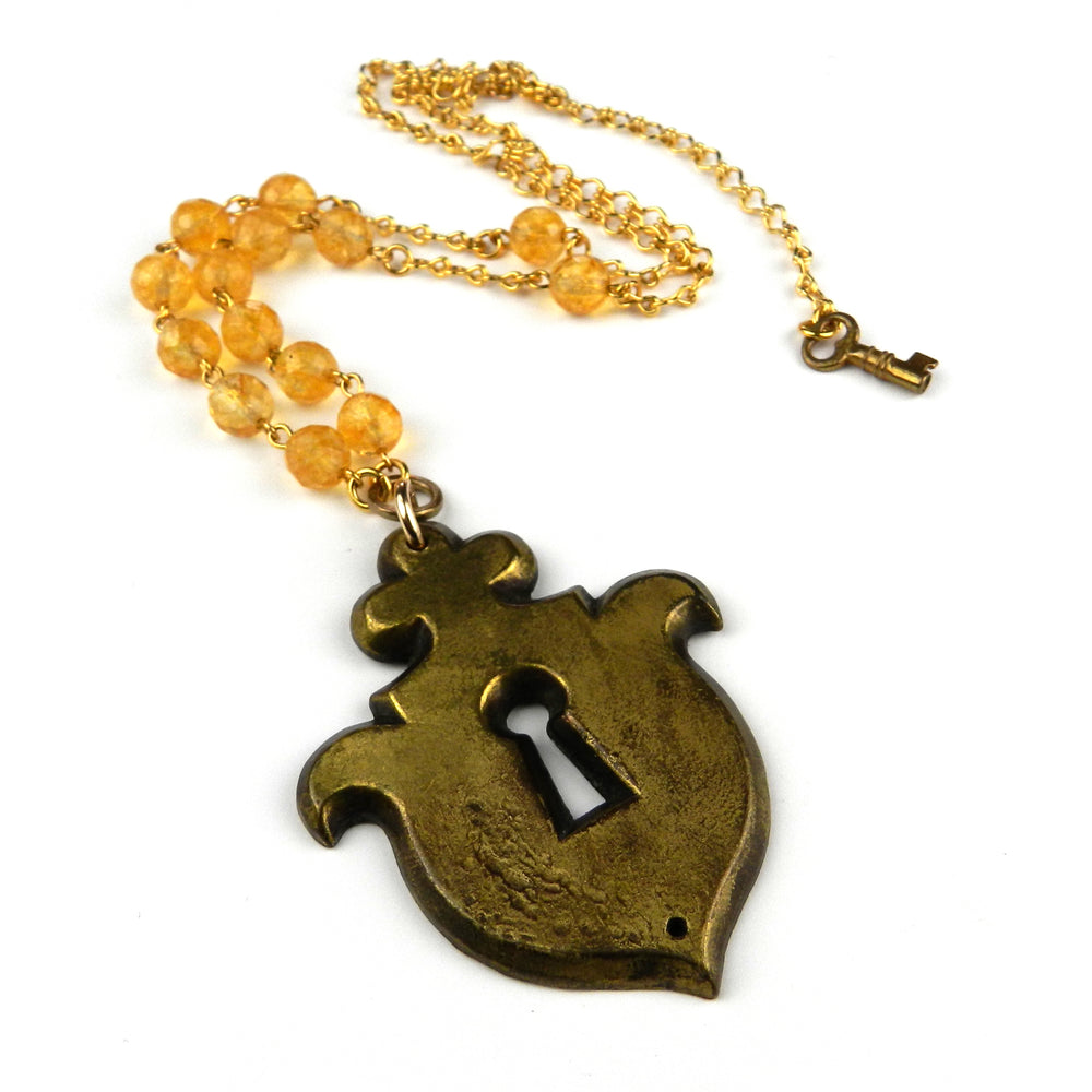 Paris Vintage Escutcheon / Keyhole Necklace - Citrine Gemstone