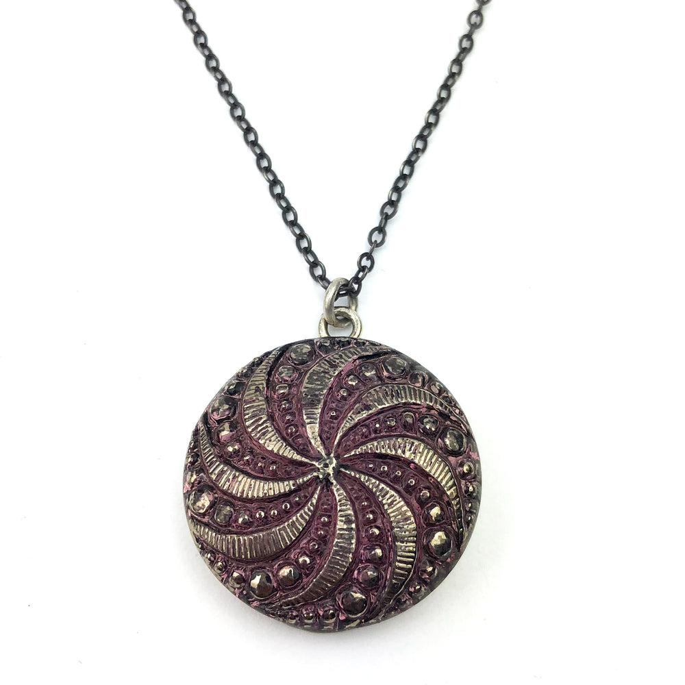 LAVENDER SPIRAL Bohemian Button Necklace Silver