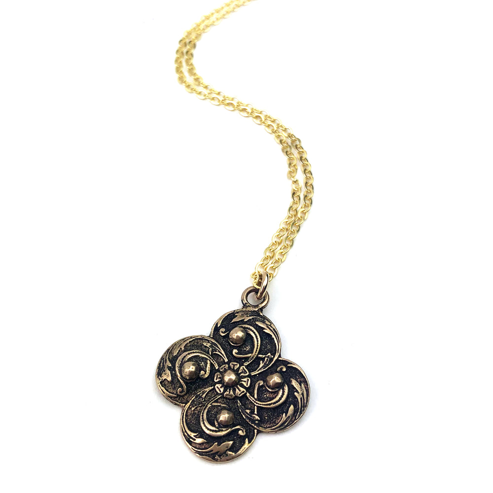 WINDS OF CHANGE Vintage Button Necklace - GOLD