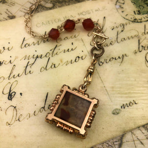 Intaglio Watch Fob Necklace in Hematite and Agate
