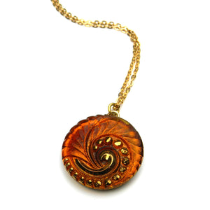 AMBER SPIRAL Vintage Button Circlet Necklace - Gold