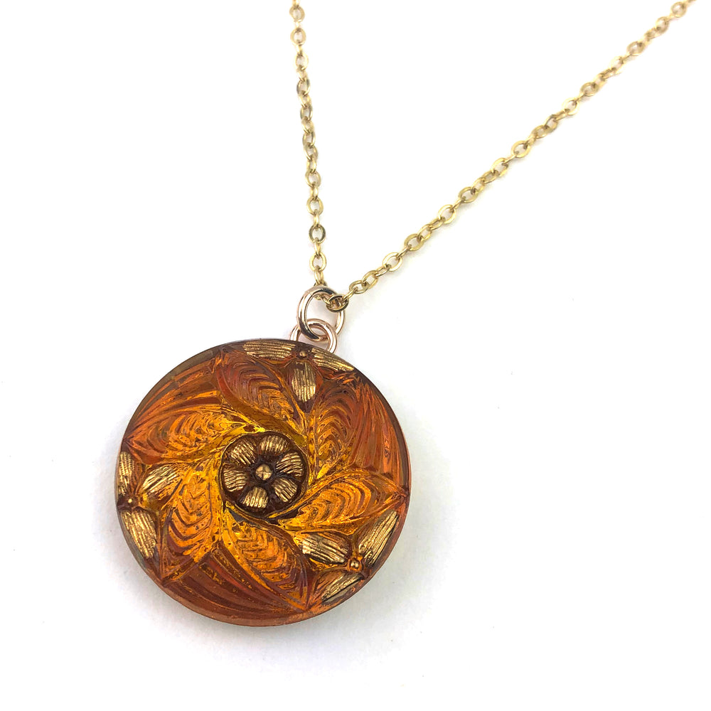 AMBER MANDALA Vintage Button Necklace - Gold