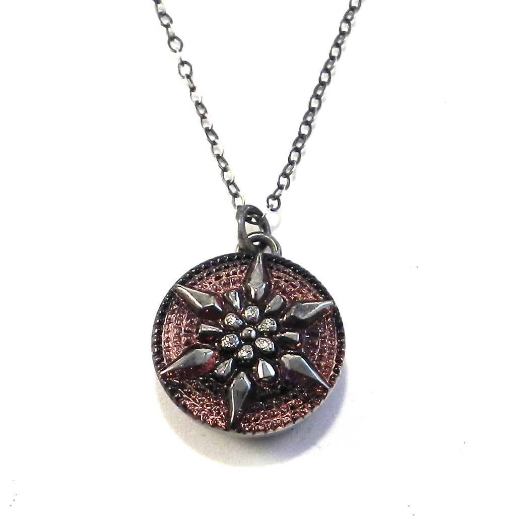 AMETHYST STAR Vintage Button Necklace - Silver